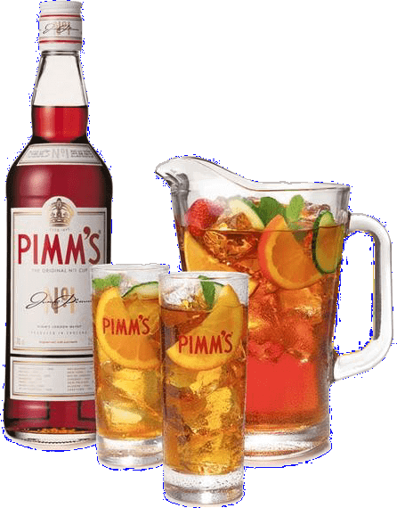 a bottle of Pimms with glasses