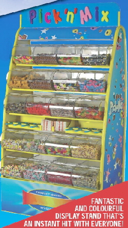 one of our new super colourful pick and mix stands available for hire