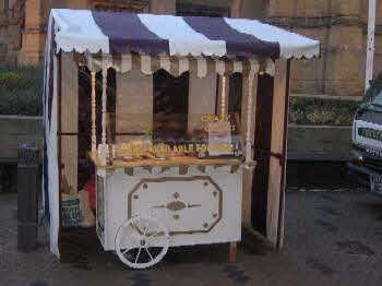 One of our crepe carts complete with external cover for inclement weather
