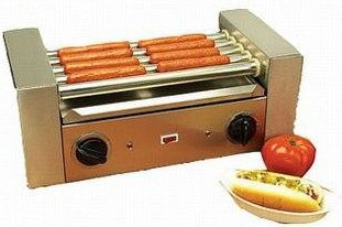 A hot dog roller machine