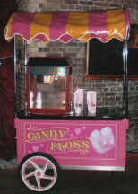 One of our range of pink candy floss carts available for hire