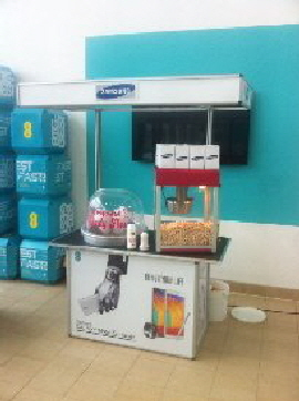 Custom designed, contemporary themed cart for a series of Samsung promotions.