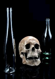 Absinthe bottles with skull