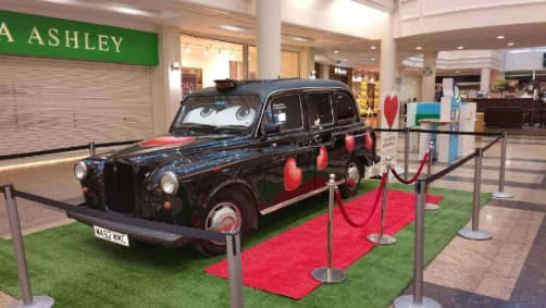 Our Black Cab Photo Booth Decorated For Valentines Day