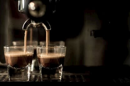 Twin Espressos Being Poured