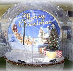Christmas Backdrop In Our Giant Snow Globe