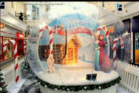 A variatio on the backdrop themeing in one of our giant snow globe photo booths.