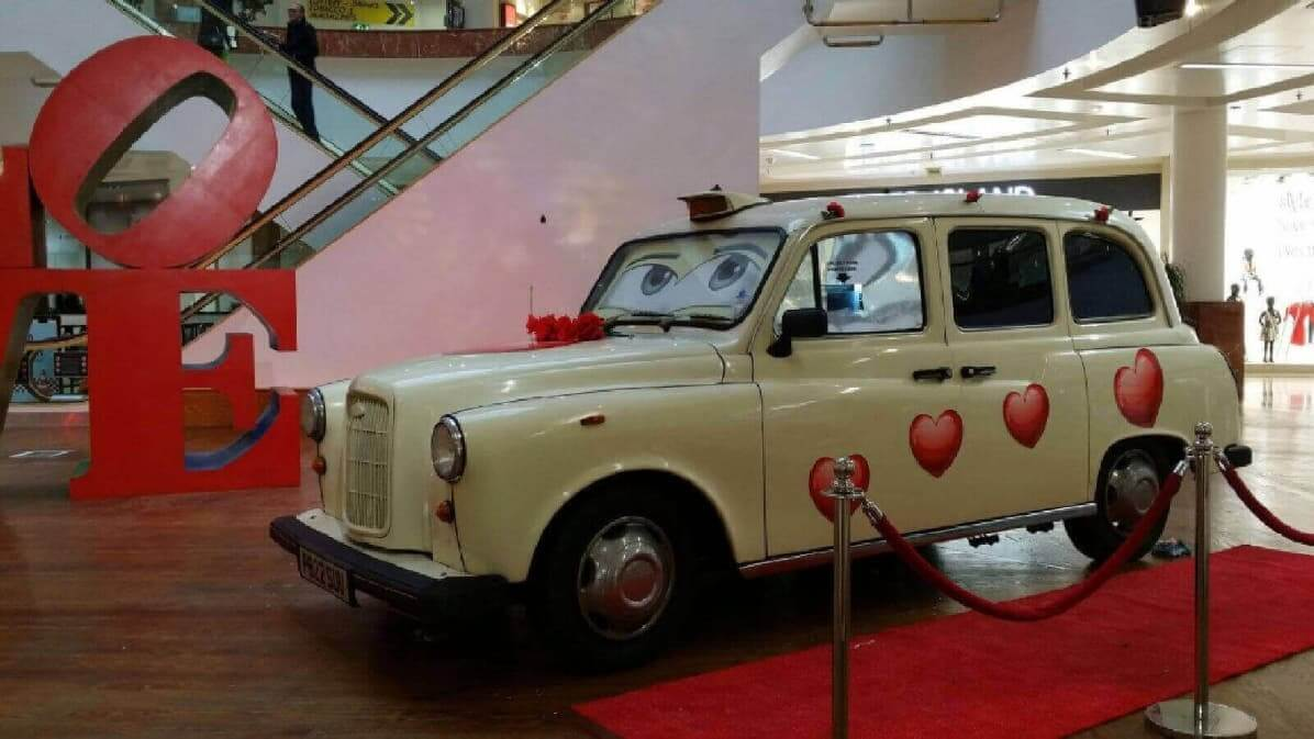 Our White Taxi Photo Booth Decorated For Valentines Day