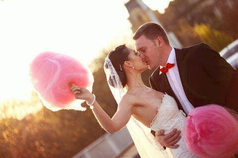 Bride and Groom With Candy Floss